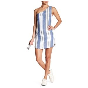 YFB Voyage Stripe One Shoulder Linen Mini Dress
